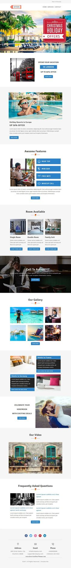 Offers is clean and modern design 6in1 responsive #email #newsletter template for viral marketing on for #travel Black Friday Cyber Monday Christmas Newyear Xmas and #Shopping with 70 modules and stampready builder access to live preview & download click on Visit