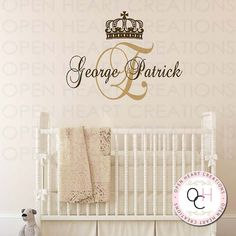 Prince Monogram Wall Decals - Initial and Name with Crown Accent - Vinyl Wall Decal for Baby Boy Nursery Bedroom 28h x 36w INA0065