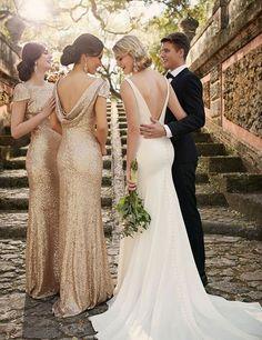 Sparkling Scoop Short Sleeves Sequins Gold Sheath Bridesmaid Dress