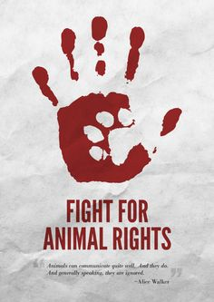 hand and dog print for animal rights poster