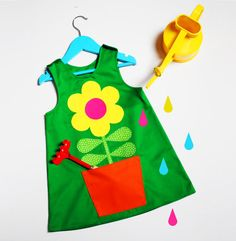 Green flower dress for girls and babies by wildthingsdresses
