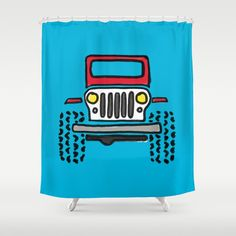 "Stop neglecting bathroom decor - our designer Shower Curtains bring a fresh new feel to an overlooked space. Hookless and extra long, these bathroom curtains feature crisp and colorful prints on the front, with a white reverse side.     - One size: 71"" (W) x 74"" (H)   - Made in the USA with 100% polyester   - 12 buttonhole-top for easy hanging    - Machine washable, tumble dry   - Rod, curtain liner and hooks not included Red Shower Curtains, Bathroom Curtains, Jeep Drawing, Hooks, Crisp, Colorful, Space, Usa, Drawings"