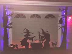 Halloween Garage Door Silhouette - how to make a glowing Halloween scene on a garage door or wall.