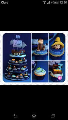 Jorge el curioso Curious George, Ideas Para Fiestas, Cake Ideas, Biscuit, Cupcakes, Desserts, Food, Curious George Party, Princess Birthday Invitations