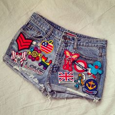 Reworked Vintage Jean Shorts with Patches by KodChaPhorn