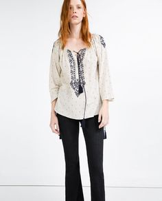 Image 1 of EMBROIDERED PLUMETIS BLOUSE from Zara