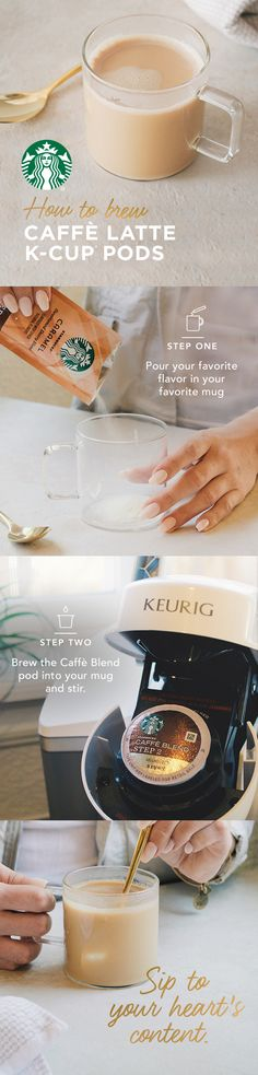 Brew Caffè Latte K-Cup® pods in two easy steps. Start by finding your favorite flavor packet and pouring it into a mug. Place the mug on drip tray and, using the 8oz. setting, brew a Caffè Blend pod into the mug. Simply stir and enjoy the taste of a signature flavor latte at home.