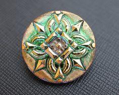 Hand Made Art Czech Glass Button Green VitrailGold by ScaraBeads, $3.50