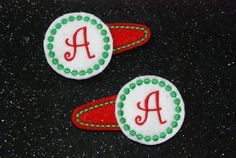 Personalized Christmas Felt Hair Bow Pigtail Clippies Machine Embroidered and Monogramed with an Initial on Sparkly and Glittery Felt by CouldYouBeAnyCuter on Etsy