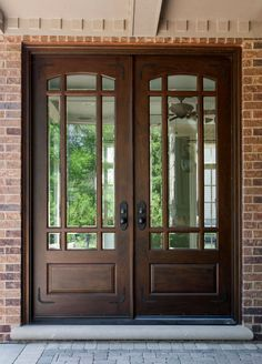 Brown Wooden Entry Double Door With Three Quarter Lite And Black Handle Combined Brick Wall As Well As Replacement Front Doors Also Wooden Front Doors With Side Panels. Alluring Wooden Front Doors With Glass For Luxurious Exterior Double Front Entry Doors, Double Doors Exterior, Exterior Doors With Glass, Entry Doors With Glass, Front Door Entrance, Wooden Front Doors, House Front Door, Glass Front Door, Oak Doors