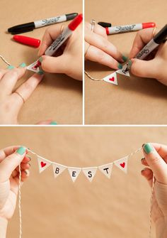 Learn how to make a darling and simple bunting cake topper!<br> We show you how to transform a super common adhesive into the most adorable bunting cake topper you have ever seen; personalized with a unique saying! Diy Bunting Cake Topper, Cake Toppers, Fabric Bunting, Buntings, Creative Gifts For Boyfriend, Boyfriend Gifts, Presents For Your Boyfriend, Diy Books For Boyfriend, Bff Birthday Gift