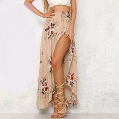 Vintage Floral Print Long Skirts women Summer elegant beach maxi skirt Boho high waist asymmetrical skirt to choose right size please see the size chart