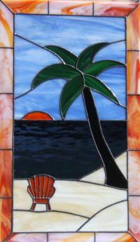 Island Palm Tree Leaded Stained Glass Window Panel