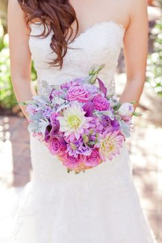 Radiant Orchid bouquet // photo by Heather Scharf Photography, see more: http://theeverylastdetail.com/romantic-radiant-orchid-wedding/
