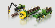 SIKU Farmer 1:87 John Deere Forestry set  with Lorry and Trucks – 1801