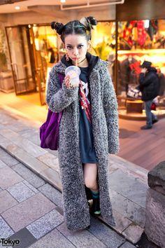 Hirari Ikeda in Harajuku w/ Long Coat & Colorful Double Bun Hairstyle