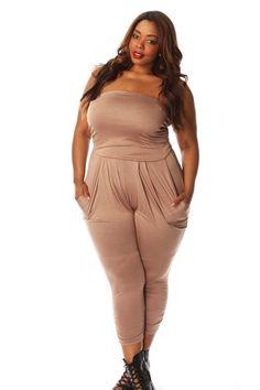 Plus Size Strapless Harem Jumpsuit Curvy Women Fashion, Womens Fashion, Pink Clubwear, We Wear, How To Wear, Curvy Girl Lingerie, Plus Size Women, Jumpsuit, Clothes For Women