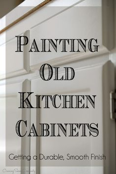 How To Paint Old Kitchen Cabinets How to paint kitchen cabinets to create a durable smooth finish - kitchen cabinet painting tips including deglosser, spraying, prep, and clear coat. How to prevent yellowing and chipping of paint. Update Kitchen Cabinets, Diy Cabinets, Kitchen Cabinetry, Kitchen Paint, Kitchen Redo, Kitchen Ideas, Repainting Kitchen Cabinets, Wooden Kitchen, Yellow Kitchen Cabinets