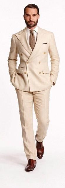 Anniebritney Mens Wool Blend Double Breasted Suit - Tan