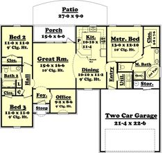 European Style House Plan - 3 Beds 2 Baths 1500 Sq/Ft Plan #430-53 Main Floor Plan - Houseplans.com