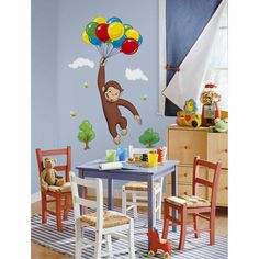 The Official PBS KIDS Shop | Curious George Giant Wall Decal - Party Decorations - Party Supplies