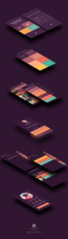 """TriplAgent *** """"TriplAgent - Mobile design and branding for a travel app where people can find the best places in the world based on their interests."""" by Taras Kravtchouk, via Behance ***"""