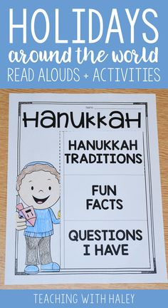 Holidays around the world is the perfect way to promote diversity and acceptance! This packet includes teacher discussion questions and prompts for 6 of my favorite holiday read alouds. I've also included printables for after reading to reinforce retelling, comprehension, and writing. These read alouds and comprehension activities talk about Hanukkah traditions and fun facts about the holiday.