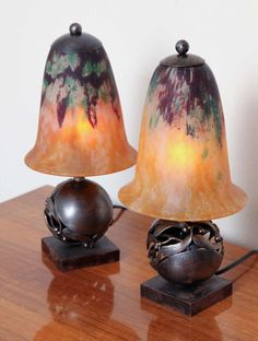 Pair of Edgar Brandt & Daum Art Deco Table Lamps | From a unique collection of antique and modern table lamps at https://www.1stdibs.com/furniture/lighting/table-lamps/
