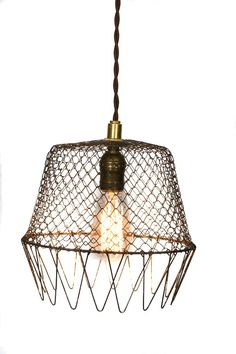 Vintage Industrial Wire Cage Farmhouse Pendant by junkyardlighting Farmhouse Pendant Lighting, Industrial Lighting, Industrial Chic, Vintage Industrial, Industrial Farmhouse, Industrial Design, Cage Pendant Light, Cage Light, Pendant Light Fixtures