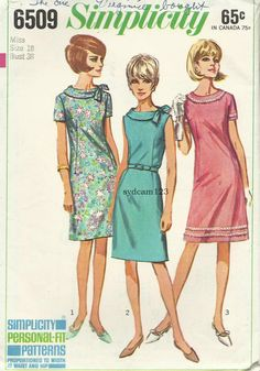 Vintage 1966 A Line Dress Rolled Collar With Side Tie...Sleeve Variation...Simplicity 6509 Robes Vintage, Vintage Dresses, Vintage Outfits, 1960s Dresses, Vintage Clothing, Mod Fashion, 1960s Fashion, Vintage Fashion, Couture