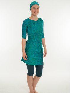 Slanted Style Green Vine Patterned  Modest Swim by Leelach on Etsy, $159.00