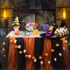 Amazon.com: AerWo Halloween Tutu Table Skirt Tulle Tablecloth Tableware for…