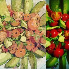 Sałatka szczęścia z awokado, pomidorami, papryką i natką pietruszki – Roślinne pychotki