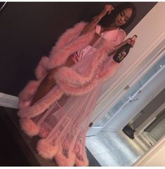 """Turn heads for Valentine's day, lingerie party, or slumber party in this GLAMOROUS robe. Handmade in Michigan Custom light pink robe with fur trim all around. Please include your bra size and height, in the """"notes/instruction"""" box, at checkout. Lingerie Party, Lingerie Outfits, Sexy Lingerie, Glamouröse Outfits, Fashion Outfits, Womens Fashion, Baddie Outfits Party, Trendy Outfits, Vegas Outfits"""