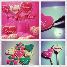 #Cookies #CookiesPops #Corazones Babyshower, Pop S, Cookies, Cake, Desserts, Food, Design, Hearts, Events