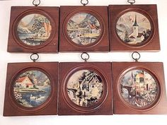Miniature Pictures Wooden Plaques European Scenery Wall Hanging Framed Prints Vintage 1950s Home Decor Montage Set of Six Made in Japan