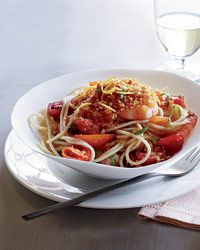 Spaghettini with Shrimp, Tomatoes and Chile Crumbs Recipe on Food & Wine