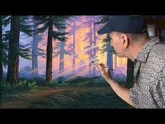 Cómo pintar un bosque Completo al atardecer con acrílico sobre tela - YouTube