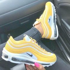 Nike Air Max 97 yellow shoes,Nike Air Max 97 yellow shoes Boots Shoes have a long canal and keep people good and warm in autumn and winter. They can be level or hav. Yellow Sneakers, Cute Sneakers, Yellow Shoes, Sneakers Nike, Cute Nike Shoes, Nike Air Shoes, Colorful Nike Shoes, Nike Air Max, Nike Wmns