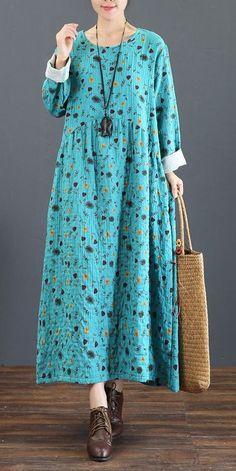 Cute Vintage Print Cotton Linen Maxi Dresses For Women 5219