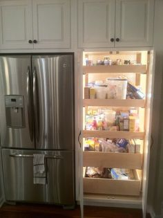 Home Interior Bathroom Lighted Pantry with pull out drawers.Home Interior Bathroom Lighted Pantry with pull out drawers Kitchen Redo, Kitchen Pantry, New Kitchen, Kitchen Storage, Storage Cabinets, Kitchen Ideas, Pantry Ideas, Pantry Cabinets, Pantry Doors