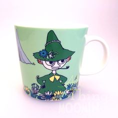 The new green Snufkin mug by Arabia coming in February Moomin Mugs, Tove Jansson, New Green, Cool Kitchens, Helsinki, Finland, Scandinavian, Retro Vintage