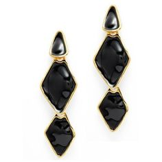 Black Trio Drop Earrings ($75) ❤ liked on Polyvore featuring jewelry, earrings, post drop earrings, diamond accent earrings, post back earrings, post earrings and statement drop earrings