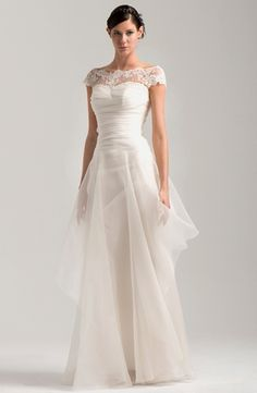 Was: $5,000 NOW: $4,099 Jenny Lee - Bateau A-Line Gown in Silk Organza