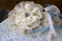 Something Blue Wedding guest book  vintage shabby chic by youruniquescrapbook, £69.95