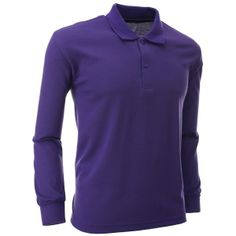 FLATSEVEN Men's Polo Long Sleeve Shirt