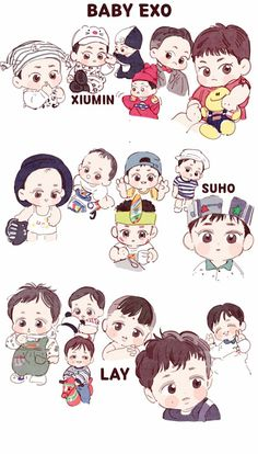 Baby EXO <credits to owner> Baekhyun Fanart, Chanyeol, Kyungsoo, Exo Cartoon, Exo Stickers, Exo Anime, Exo Album, Exo Lockscreen, Korean Boy