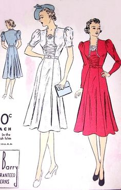 1930s BEAUTIFUL Dress Pattern DuBARRY 2233B Daytime or Cocktail Party Dress Figure Flattering Design Bust 34 Vintage Sewing Pattern