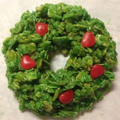 Christmas Cornflake Wreath Cookies Photos - Allrecipes.com Cornflake Wreaths, Cornflake Cake, Christmas Treats, Palak Paneer, Allrecipes, Avocado Toast, Sweet Treats, Cookies, Ethnic Recipes