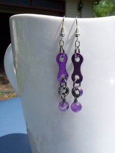 Purple Amethyst earrings linked with purple upcycled BMX chain links on Etsy, $15.00